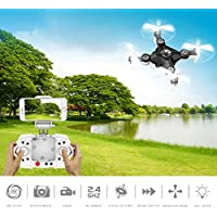 RC Mini Drone, ECLEAR 4 Channel 2.4GHz 6-Axis Gyro Aircraft with HD Camera LED Lights + WiFi FPV Headless Mode 3D Roll Remote Control Quadcopter Toys For Adult Kids