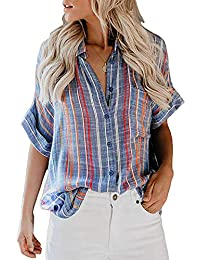 DRIBET Women's V Neck Striped Roll up Cuffed Short Sleeve Casual Loose Fitting Button Down Collar Blouses Shirts Tops