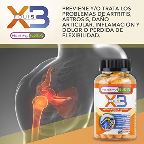 X3 - POTENTE CURCUMA CON COLÁGENO HIDROLIZADO + ÁCIDO HIALURÓNICO + CONDROITINA + GLUCOSAMINA + MSM + CALCIO + VITAMINA D3 - Elimina el dolor y la ...