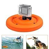D&F Rubber Flying Disc Floating Pan Mount for GoPro Hero 6/5/4/3+/3 SJCAM SJ4000/5000/6000 Xiaomi Yi Action Camera Float grip Float Buoyancy Waterproof Flying Disk for Pets Dog