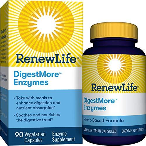 Renew Life Adult Digestive Enzyme – DigestMore Plant-Based Foods Enzyme Formula for Men & Women – 90 Vegetarian Capsules…