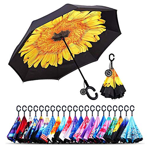 Monstleo Inverted Umbrella,Double Layer Reverse Umbrella for Car and Outdoor Use by, Windproof UV Protection Big Straight Umbrella with C-Shaped Handle and Carrying Bag ()