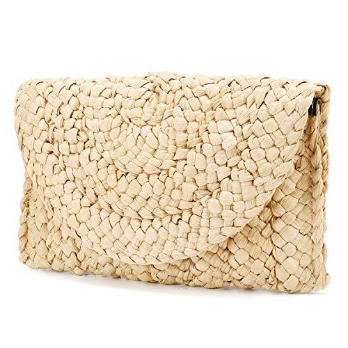 JOSEKO Damen Clutch Stroh, Frauen Stroh Handtasche Kupplung Geldbörse Korbtasche Einkaufstasche Umschlag Tasche Flache Basttasche Sommer Strandtasche für Reise Outdoor Schule(Beige#01)