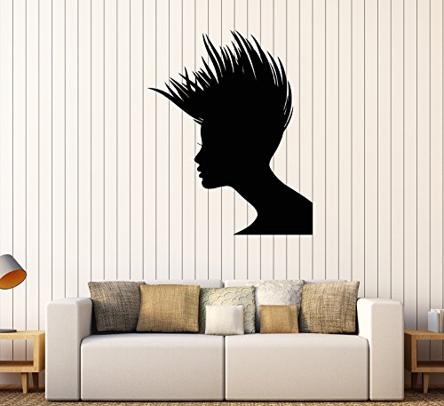 Vinyl Wall Decal Woman Hairstyle Beauty Salon Hair Hairdresser Stickers (126ig) Pink]()