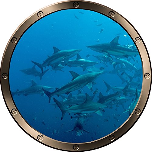 12  Porthole Ship Window Ocean Sea View Shark Frenzy  1 Pewter Round Wall Decal Kids Sticker Baby Room Home Art D Cor Graphic Small