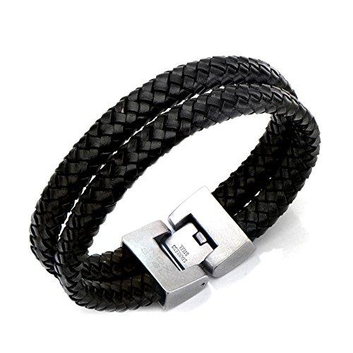 Inox Jewelry Stainless Steel Double Strap Braid Leather Bracelet (Black)