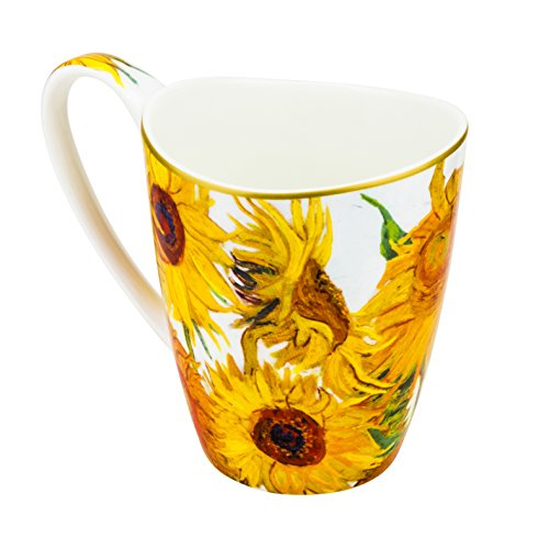 "Carmani ""Vanessa"" 13 Oz Large Mug, Porcelain Coffee and Tea Cup with ""Sunflowers"" Painting by Vincent van Gogh, Dishwasher Safe"