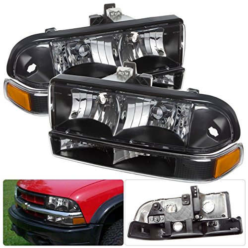 Chevy S10 Blazer Pickup Black Housing Headlight Amber Corner Signal Bumper Lamp Reflector Replacement Asembly Front Driving ()