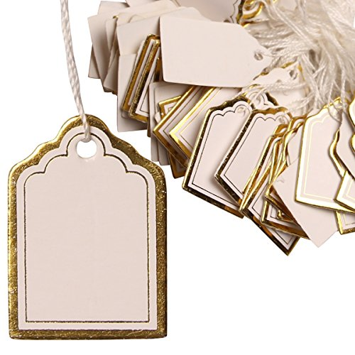 H88 1000 Pcs Gold Price Tag Retail Label Tie String Jewelry Watch Display # 6001372 Photo #3