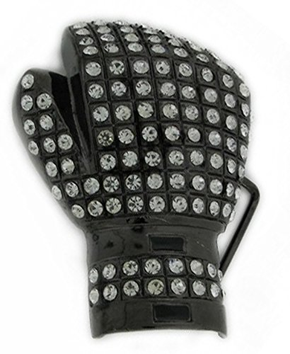 (HIP HOP BLING ICED OUT Black Ice Tone Boxing Glove BELT)