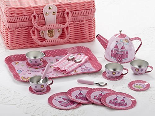 (Delton Tin 19 Pcs Tea Set in Basket, Castle)