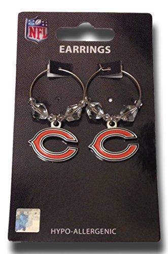 NFL Licensed Clear Bead Hoop Dangle Earrings (Chicago Bears) (Chicago Bulls Earrings For Men)