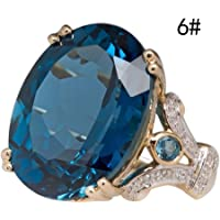 Haluoo Round Sapphire Filled Engagement Wedding Rings Gold Plated Women's Big Stone Diamond Statement Promise Rings Band…