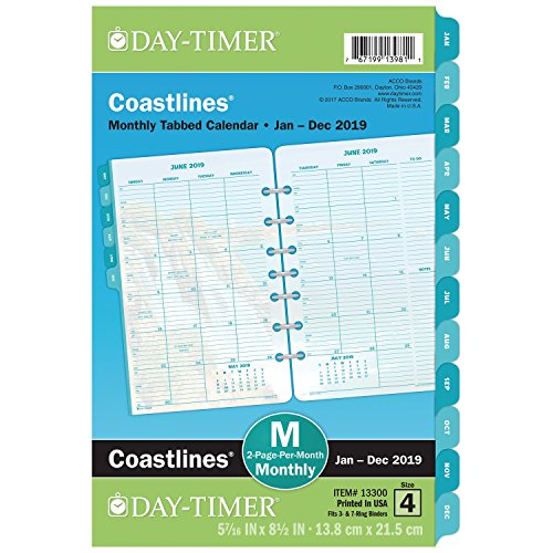 Day-Timer 2019 Monthly Planner Refill, 5-1/2