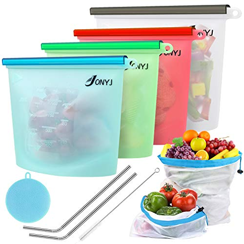 Reusable Silicone Food Storage Bags, JONYJ Bonus Stainless Steel Straws & Brush + Produce Storage Bags + Silicone Sponge, Airtight Seal Cooking Baggies for Sous Vide, Sandwich, Liquid, Snack, Lunch