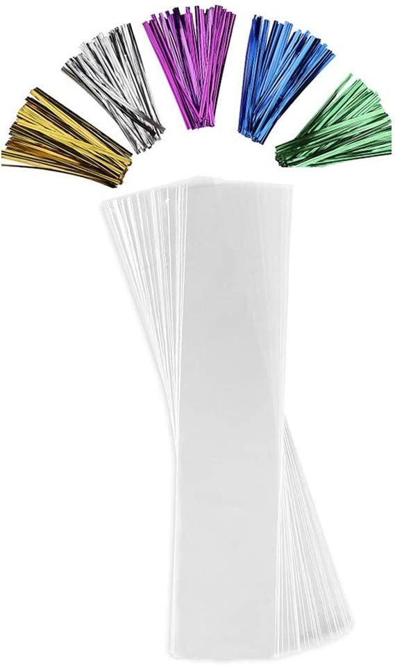 8x 12 Kayaso 200 Treat Bags with 200 4 Twist Ties 8 Mix Colors