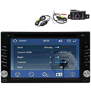 Wireless Backup Camera +GPS Navigation Windows CE 6.0 6.2 Inch Double In Dash Car Stereo Radio Auto Audio Video Automotive CD/DVD/Mp3 Player Bluetooth ...