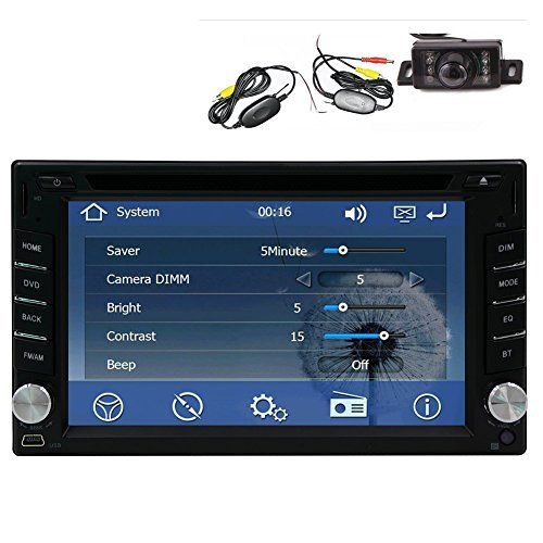Wireless Backup Camera +GPS Navigation Windows CE 6.0 6.2 Inch Double In Dash Car Stereo Radio Auto Audio Video Automotive CD/DVD/Mp3 Player Bluetooth SD/USB Steering Wheel Control