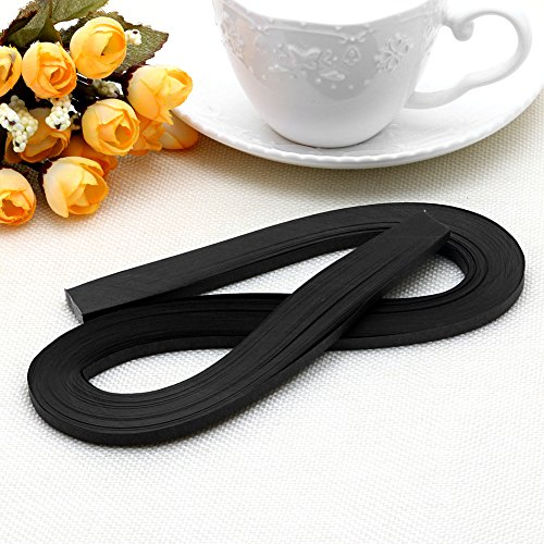 MEXUD-120 Stripes 5mm Width Quilling Origami Paper Pure Colour DIY Tool Handmade Gift (Black)