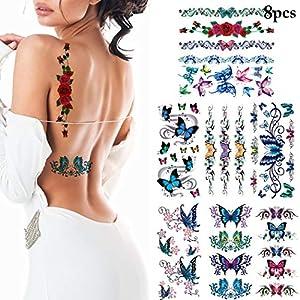 Aniwon 8 Sheets Tattoo Sticker 3D Butterfly Flower Art Temporary Tattoo for Women