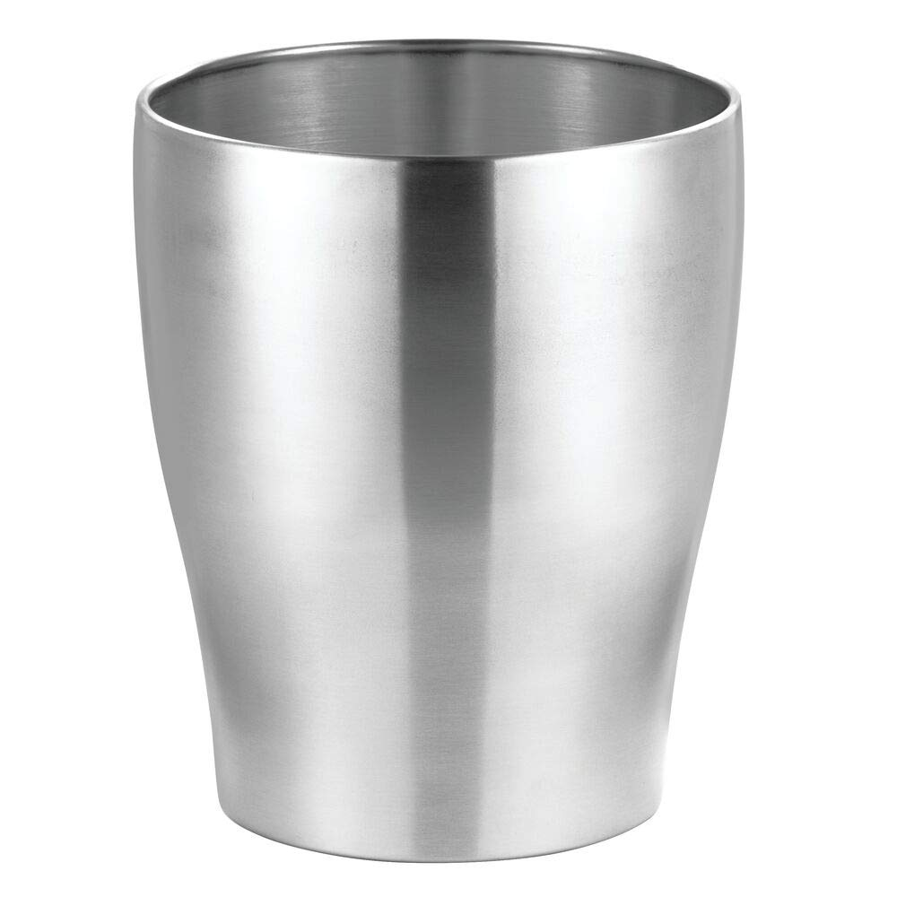 mDesign Modern Round Metal Small Trash Can Wastebasket, Garbage Container Bin for Storing and Holding Waste in Bathroom, Kitchen, Home Office, Craft Room, Laundry Room - Stainless Steel - Polished by mDesign