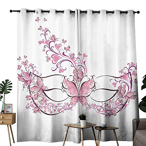 Warm Curtain Masquerade Decorations Collection Masks for Carnival Fancy Dress Centuries Old Tradition Venice Design Pink Purple White Blackout Draperies for Bedroom Living Room W108 xL72 -