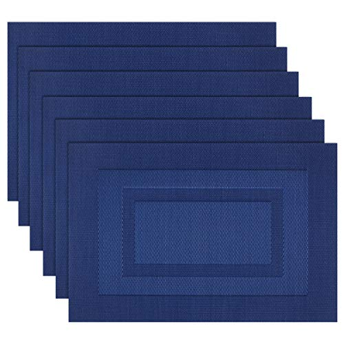 (Pigchcy Placemats,Washable Woven Vinyl Placemats for Dining Table,Easy to Clean Plastic Placemats Set of 6(18 X12 inch, Navy Blue))