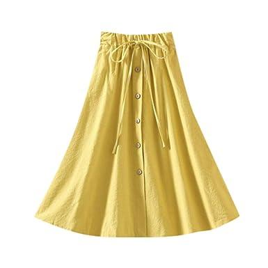 Faldas Cortas Volantes Kawaii, Falda de Lino del Ocio del botón ...