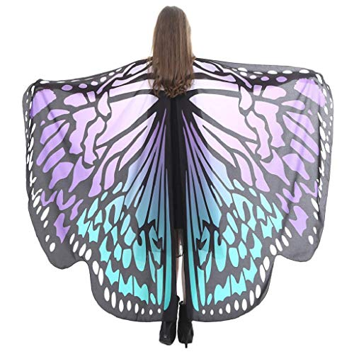 (SAKAMU-Women Butterfly Wings Shawl Scarves Ladies Nymph Pixie Poncho Costume Accessory(Purple)