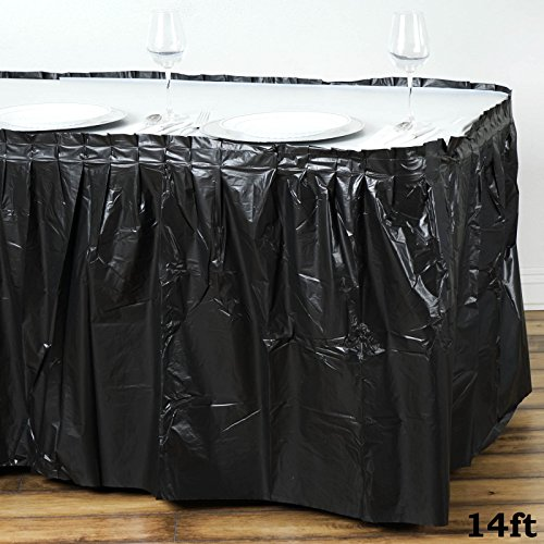 (Tableclothsfactory 5 Pcs 14ft Spotless Elegance Disposable Plastic Table Skirt - Black)