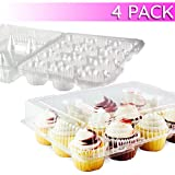 Chefible 12 Cupcake Container, Takeout Container, Cupcake Carrier - Set of 4