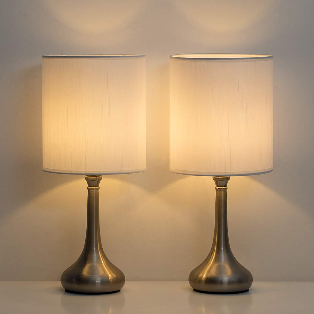 HAITRAL Small Table Lamps - Modern Nightstand Lamps Set of 2 with Metal  Base and White Fabric Shade, Desk Lamps for Bedroom, College Dorm, Office -  ...