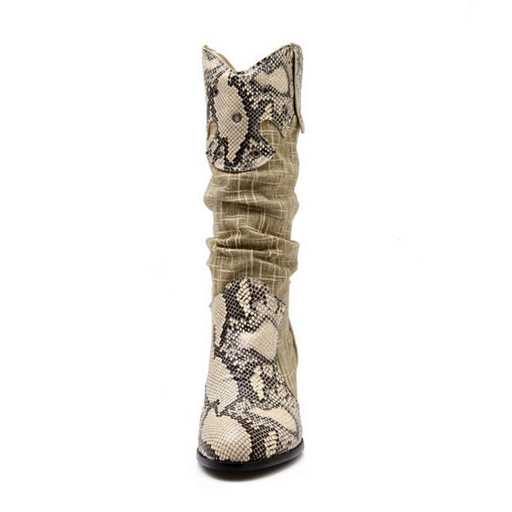 ZHRUI Stiefel Damen Schuhe Damenstiefel Winter Kniehohe Stiefel High High High Tube Flat Heels Reitstiefel Stiefel Mode Elegant Stiefel Winterstiefel (Farbe   Beige``, Größe   39 EU) 8647f8