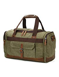 """Overnight Bag Canvas Leather Vintage Travel Duffel Bags 18.9""""/7.9""""/13.0"""" (Army Green)"""