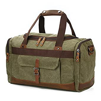 "BLUBOON Overnight Bag Canvas Genuine Leather 18.9""/7.9""/12.2"" Vintage Travel Duffel Bags (Army Green)"