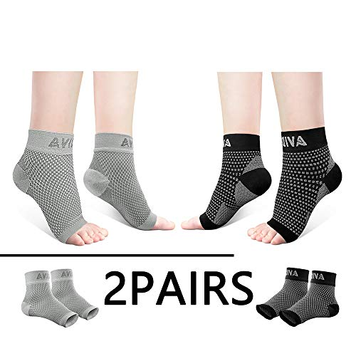 AVIDDA Ankle Brace for Men Women 2 Pairs Plantar Fasciitis Socks with Arch Support Compression Foot Sleeve for Achilles Tendon Support Sprained Ankle Swelling Flat Feet Black & Gray M