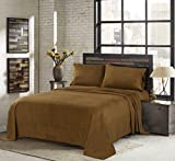 Sunbeam Super Soft Heavyweight Fleece Sheet Set, Toffee, Queen