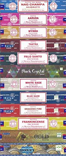 Satya Bangalore (BNG) Set of 12 Nag Champa Money Gold Black Crystal Aaruda Palo Santo White Sage Frankincense Myrrh Tantra Blue Sage Dragon's -