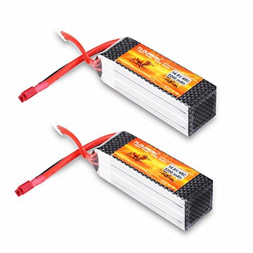 FLOUREON 4S 14.8V 2200mAh 45C Lipo RC Battery with T Plug for RC Evader BX Car RC Truck RC Truggy RC Airplane UAV Drone - 2200 Rc Battery Mah