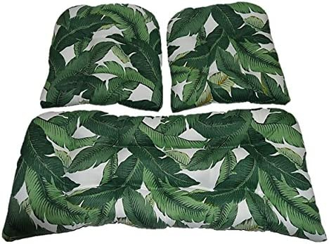 RSH DECOR 3 Piece Wicker Cushion Set – Tommy Bahama Swaying Palms Aloe Green Tropical Palm Leaf Indoor Outdoor Fabric Cushion for Wicker Loveseat Settee 2 Matching Chair Cushions
