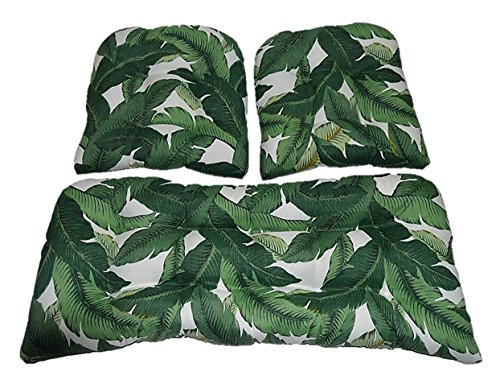 (RSH DECOR 3 Piece Wicker Cushion Set - Tommy Bahama Swaying Palms Aloe ~ Green Tropical Palm Leaf Indoor/Outdoor Fabric Cushion for Wicker Loveseat Settee & 2 Matching Chair Cushions)