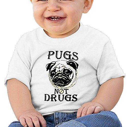 NYCOPI MICJP Boy' Girls' Pugs Not Drugs Clothes Summer Short-Sleeve Cotton Tee Shirt 12 Months