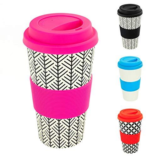 Rink Drink Reusable Coffee Travel Cup Eco Friendly BPA Free Bamboo with Silicone Lid & Sleeve, 400ml - Aztec Leaf - Pink