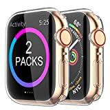 i phone 5 cases and accessories - [2 Pack] BRG Case for Apple Watch Screen Protector 40mm 44mm 38mm 42mm,iWatch Series 5 4 3 Soft TPU HD Clear Ultra-Thin Overall Protective Cover Case
