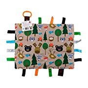 "Baby Sensory, Security & Teething Closed Ribbon Tag Lovey Blanket with Minky Dot Fabric: 14""X18"" (Forest Friends)"