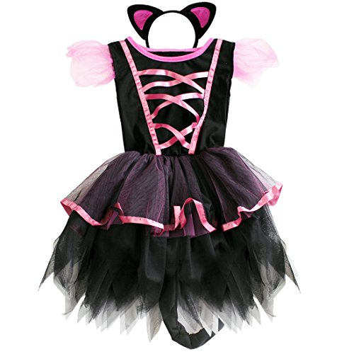 iEFiEL Girls Kitty Cat Animal Tutu Costume Dress Birthday Clothing Black 3-4