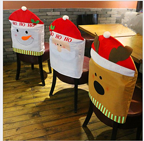 Homecube Chair Back Cover, Christmas Snowman Santa Claus and Santa Deer Chair Back Covers for Dining Room Home Holiday Party, Family Composition,Set of 3