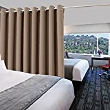 Mocha Room Dividing Blackout Curtain - PONY DANCE Home Decor Ring Top Curtain For Shared Space, Suit For Apartment, Studio, Storage, High Ceilings, Single Panel, 9'Tall x 10' Wide