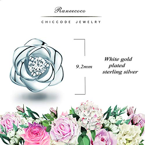White Gold Plated Sterling Silver Rose Flower Ear Studs, Hypoallergenic & Nickel Free Earrings for Women