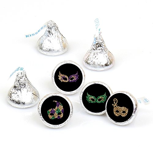 (Mardi Gras - Masquerade Party - Round Candy Sticker Favors - Labels Fit Hershey's Kisses (1 sheet of)